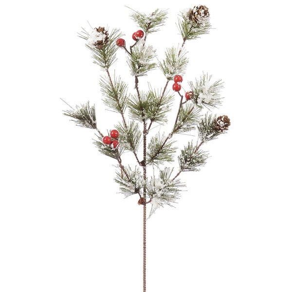 "14"" Snowy Monterey Pine Spray w/Berries"