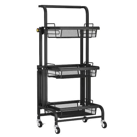 AOOLIVE Kitchen Cart 3-Tier Folding Rolling /Bedroom/Living Room