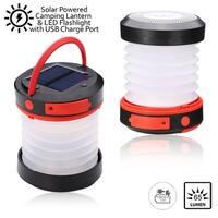 Indigi® Solar Powered LED Camping Lantern - USB Port for Recharging SmartPhones - 65 Lumens - 1800mAh Capacity - Collapsible