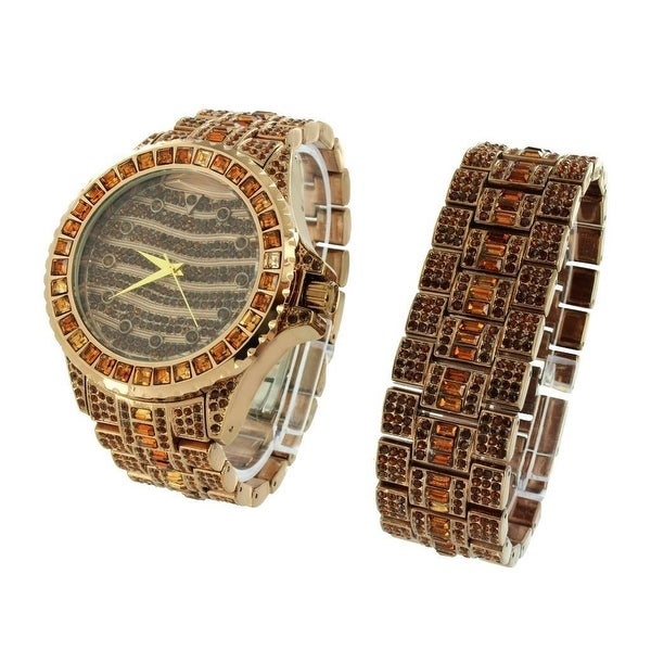 Mens Watch & Bracelet Set Fully Iced Out Simulated Diamonds Brown Band Dial Stainless Steel Back