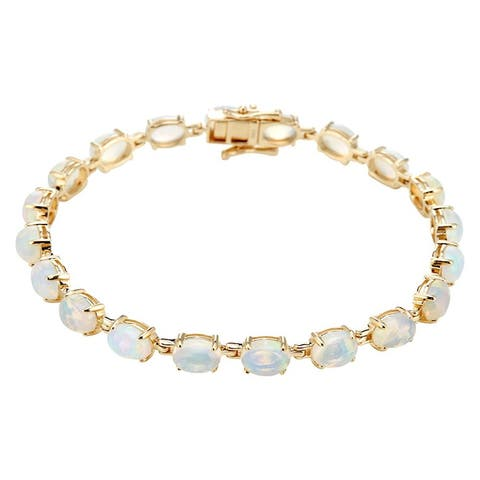 14Kt Gold Ethiopian Opal Tennis Bracelet