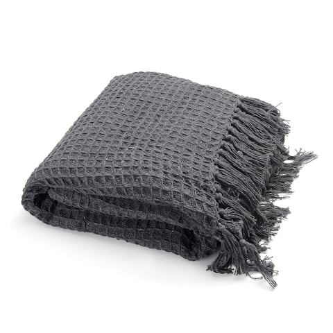 """Navy Honeycomb Pattern Fully Lined Hypoallergenic Throw with Tassels - 55x70"""""""