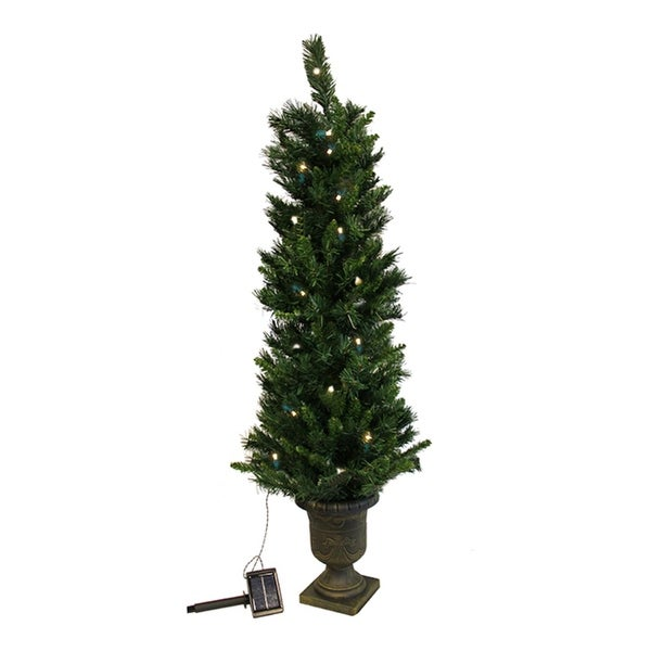 4' Pre-Lit Potted Solar Powered Artificial Christmas Tree - Clear LED Lights