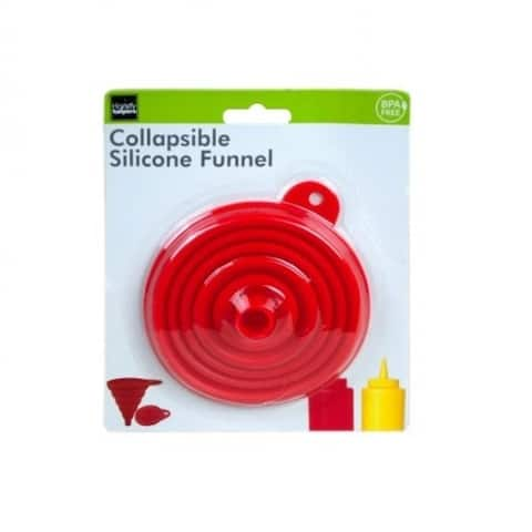 "4"" Wide Space-Saving Collapsible Flexible BPA-Free Silicone Kitchen Funnel - Red"