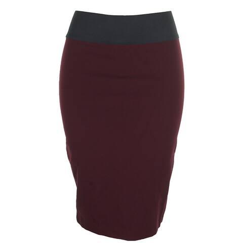 Inc International Concepts Dark Mahogany Pull-On Elastic Waist Pencil Skirt S