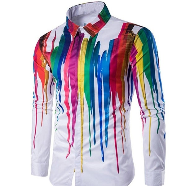 Mens Casual Shirts Long Sleeve Splash-Ink Printed Slim Fit Shirts. Opens flyout.