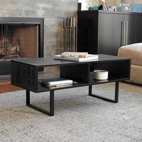 Household Essentials Media Console Coffee Table with Open Shelves, Black Wood Grain