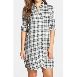 BB Dakota NEW Blue Women's Size XS Long Sleeve Plaid Ruger Shirt Dress