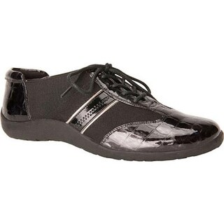 Ros Hommerson Women's Nancy Lace-Up Black Croco Patent/Pewter Piping