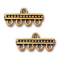TierraCast Antiqued 22K Gold Plated Beaded Bar 4-Strand Reducer Connector (2)