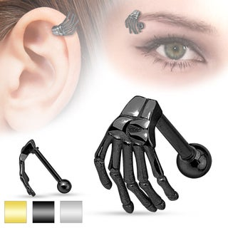 Skeleton Hand Top 316L Surgical Steel Eyebrow/Cartilage Barbell (Sold Individually)