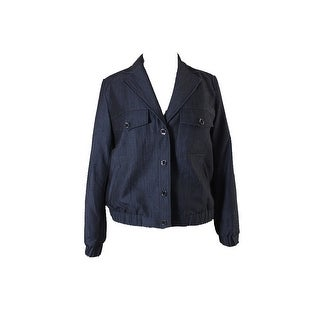 Anne Klein Indigo Snap-Front Notch-Collar Jacket - 16