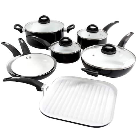 Oster Herstal 11 Piece Aluminum Cookware Set in Black