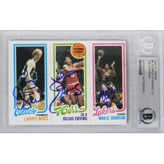 Larry Bird Magic Johnson Julius Erving 1980 Topps Rookie Basketball Trading Card Beckett Encapsula