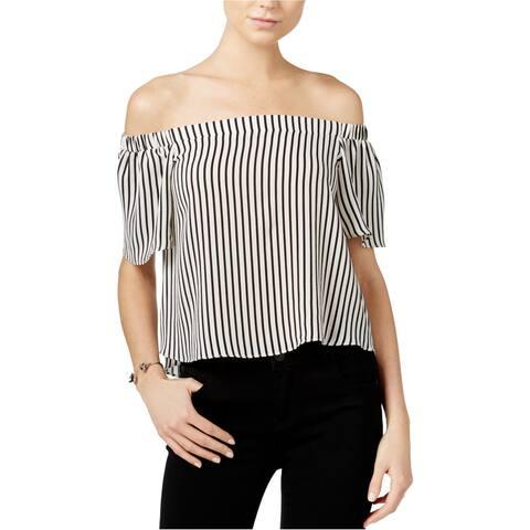 bar III Womens Striped Knit Blouse, black, Medium