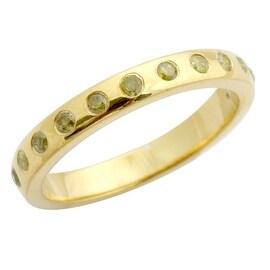 Brand New 0.25 Carat Bezel Set Yellow Diamond Wedding Band