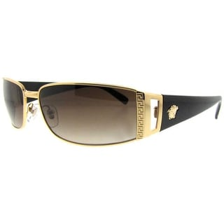 VERSACE Rectangular VE 2021 Unisex 100213 Gold Gold/Black Brown Gradient Sunglasses - 60mm-15mm-130mm
