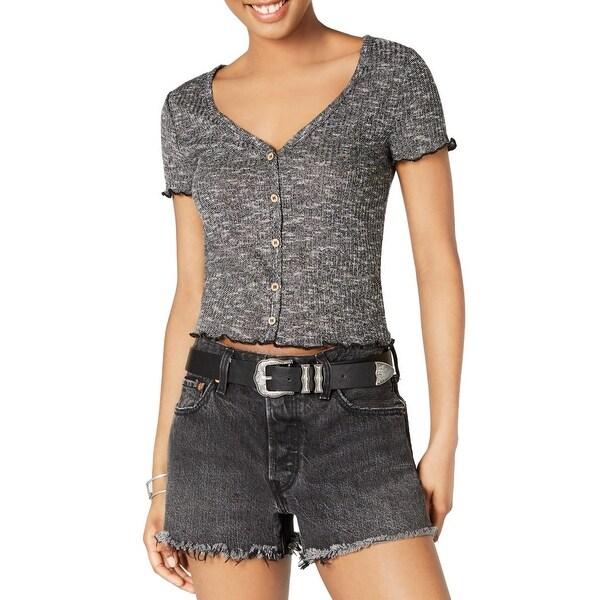 Crave Fame Juniors Crop Top Heather Black Size XS Knit V-Neck Button-Up. Opens flyout.