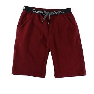 Calvin Klein NEW Deep Oxblood Red Mens Large L Drawstring Sweat Shorts