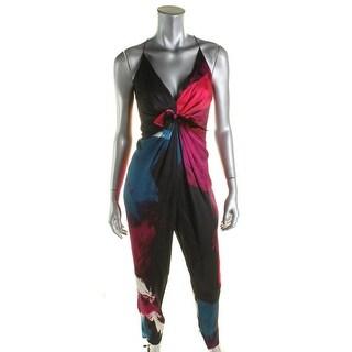 Diane Von Furstenberg Womens Rylen Jumpsuit Hammered Silk