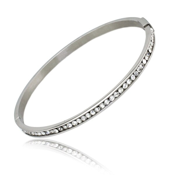 Stainless Steel Clear Cubic Zirconia Bangle - 7.75 inches
