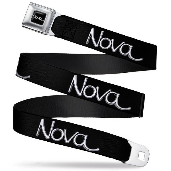 1968 72 Nova Script Emblem Stripe Repeat Full Color Black Gray Silver 1968 Seatbelt Belt