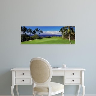 Easy Art Prints Panoramic Images's 'Palm trees in a golf course, Wailea Emerald Course, Maui, Hawaii, USA' Canvas Art