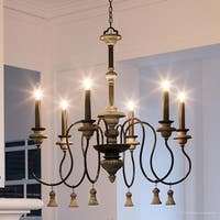 "Luxury French Country Chandelier, 33.375""H x 32""W, with Art Nouveau Style, Ancient Bronze Finish by Urban Ambiance"