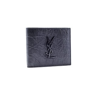 Saint Laurent Black Monogram East/West Crocodile Embossed Wallet