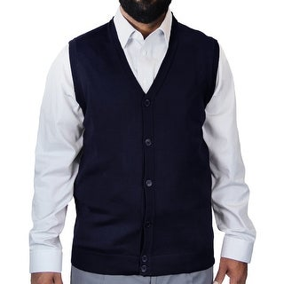 Big and Tall Solid Color Cardigan Sweater Vest