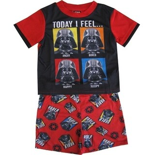 Star Wars Boys Black Red Darth Vader Print Shorts 2 Pc Sleepwear Set 8-10