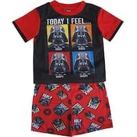 Star Wars Little Boys Black Red Darth Vader Print Shorts 2 Pc Sleepwear Set 4-6