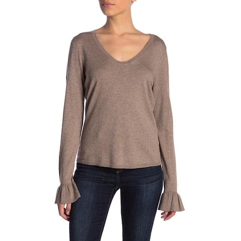 14th & Union Brown Women's Size XL Scoop Neck Bell Sleeve Sweater 807