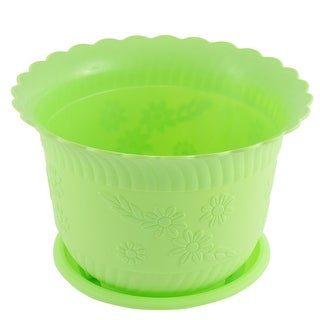 Home Garden Plastic Floral Pattern Cactus Plant Flower Pot Light Green w Tray