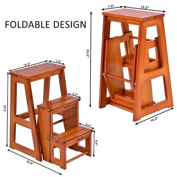 Costway Wood Step Stool Folding 3