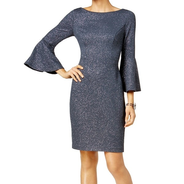 a85cd3ba0c Shop Vince Camuto Blue Women's Size 6 Glitter Bell-Sleeve Sheath Dress - On  Sale - Free Shipping On Orders Over $45 - Overstock - 27166838
