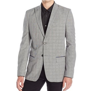 Calvin Klein NEW Gray Men Size Small S Slim Fit Plaid Two Button Blazer