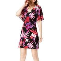 Connected Apparel Black Womens Size 10 Ruffled Sleeve Sheath Dress