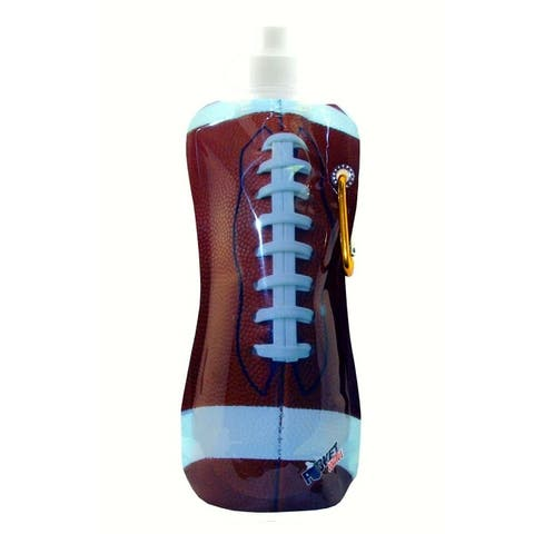 """10.5"""" Brown and White Football Pocket Plastic Bottle with Carabiner - N/A"""