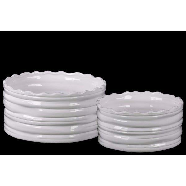 225 & Round Flower Pot with Wave Pattern Mouth Set of Two - White - Benzara