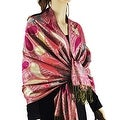 Women's All Paisley Pattern Metallic Pashmina Shawl Wrap - Thumbnail 0
