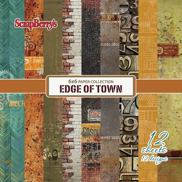 """Scrapberry's Edge Of Town Paper Pack 6""""X6"""" 12/Pkg-Single-Sided"""