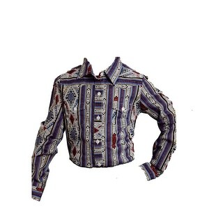 Roper Western Shirt Girls Aztec Long Sleeve Blue 03-080-0590-6014 BU