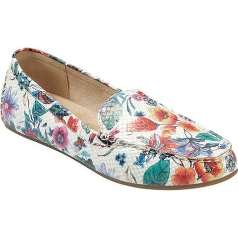Aerosoles Women's Over Drive Loafer White Floral Multi Fabric