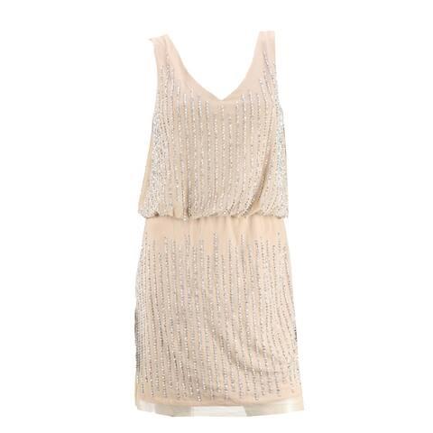 Xscape New Beige Sleeveless Beaded Mini Dress 4 - Tan