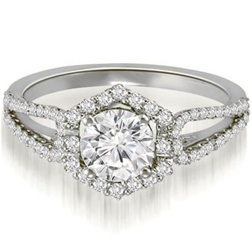 0.85 cttw. 14K White Gold Halo Round Cut Diamond Split-Shank Engagement Ring