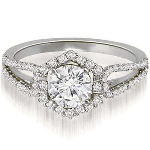 1.35 cttw. 14K White Gold Halo Round Cut Diamond Split-Shank Engagement Ring