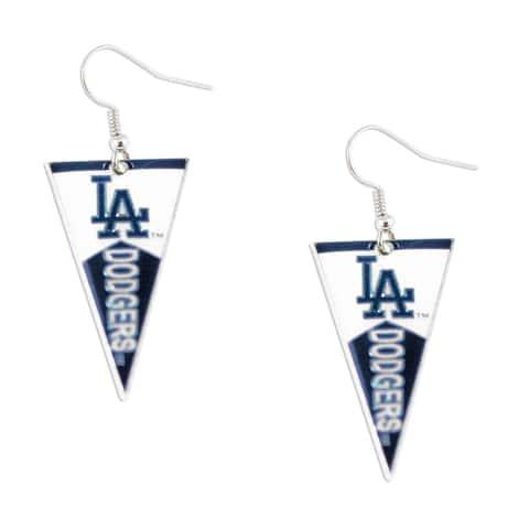 "Los Angeles Dodgers MLB Pennant Dangle Earring - 1 1/4"" long Charm"