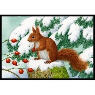 Carolines Treasures ASA2172JMAT Winter Red Squirrel Indoor or Outdoor Mat 24 x 36