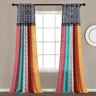 Lush Decor Boho Patch Window Curtain Panel Pair